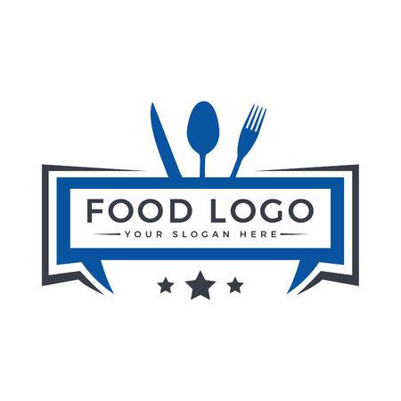 Voedsel logo ontwerp. Sjabloon logo voor restaurant, café, fast food, winkel eten. Modern logo.