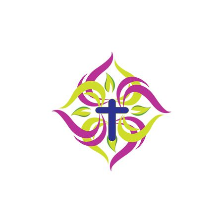 Christian church vector logo. Blue crucifix, flying dove, green leaves. Religious educational sign, symbol of growing.