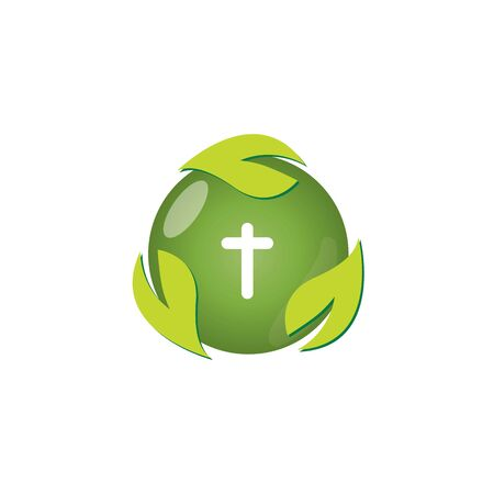Christian church vector logo. Blue crucifix, flying dove, green leaves. Religious educational sign, symbol of growing. Vettoriali