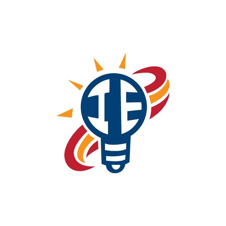 Light bulb with letter IE logo design. Electricity logo sign.