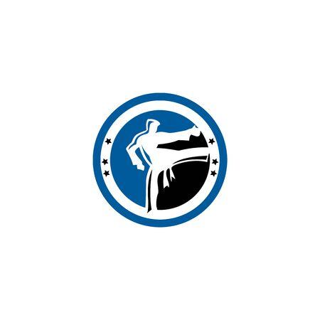 Karate Taekwondo fighter logo design.