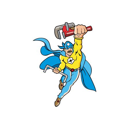Illustration of a janitor or plumber superhero mascot holding a wrench and pipe.