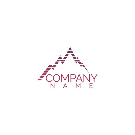 Mountains vector logo design. Tourism logo. Travel and adventure sign.  イラスト・ベクター素材