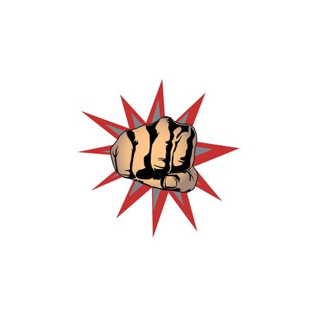 Punch vector design template. Sprong emblem with bully hand fist, vector powerful punch silhouette. 向量圖像