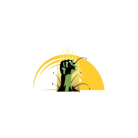 Vector symbol created using raised fist of a muscular man.