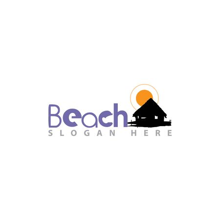 Beach House Logo Design. Beach Resort, Village Logo.