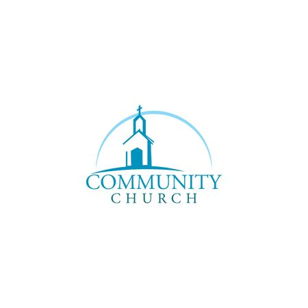 Church building vector logo design. Template logo for churches and Christian organizations cross. Çizim