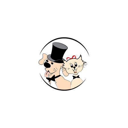 Modern pet dog and cat logo. Vector illustration. 向量圖像
