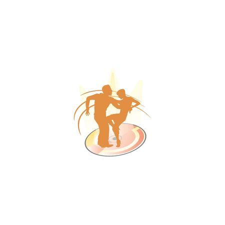 Silhouette of dancing couple. Dance logo designs template. Elements of dance multi colored icons.