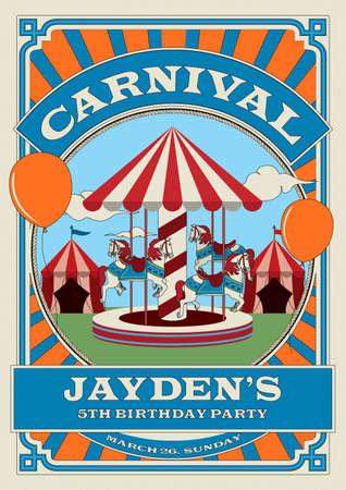 Carnival funfair birthday invitation template. Vector Illustration. Illustration