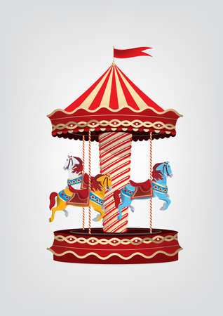 VintageRetro carousel with blue, orange and white horses. Vector illustration Illustration