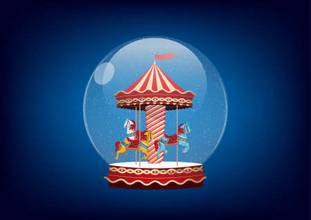 snowdome: Realistic illustration of snow-dome or snow globe. Carousel with horses.