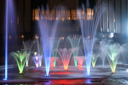 water fountain: Fountains at night 2 Stock Photo