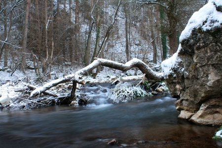 icey: Wind winter River with waterfall