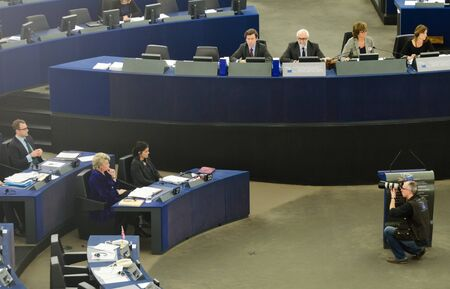 APRIL 16, 2013 - STRASBOURG, FRANCE: Plenary session of European parliament in Strasbourg, view of presidium
