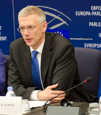 APRIL 16, 2013 - STRASBOURG, FRANCE: Former EU parliament deputy, now prime minister of Latvia, Krisjanis Karins speaking at the press conference