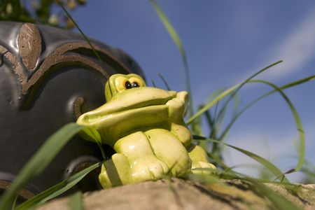 frog sculpture in the garden Stock Photo