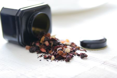 premium tea leaves and tea box Stock Photo