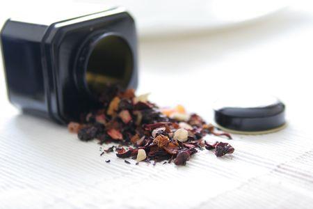 premium tea leaves and tea box Stock Photo