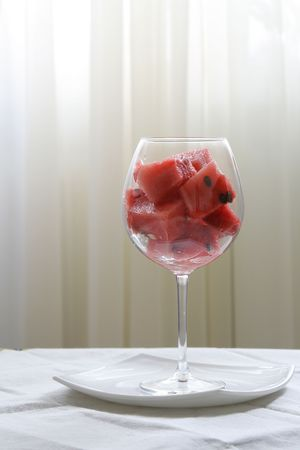 Fresh Watermelon cubes in glass