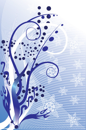 Floral background with snowflakes