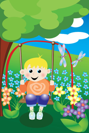 An illustration of a young boy on a swing