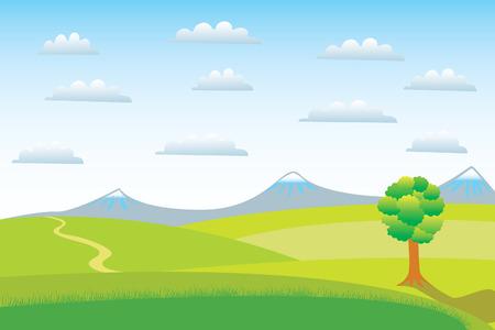 zypresse: Ein einsamer Baum an einem klaren Tag. Illustration