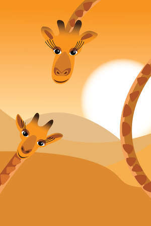 Illustration of a giraffe family