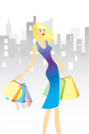 Woman with shopping bags in town. Illustration