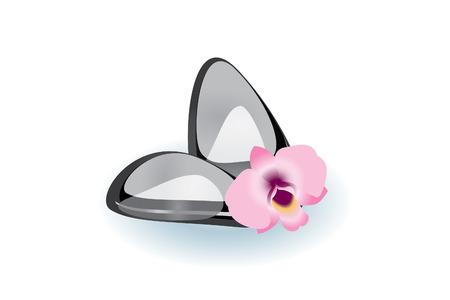 rekolekcje: Kamienie Spa z orchidea Ilustracja