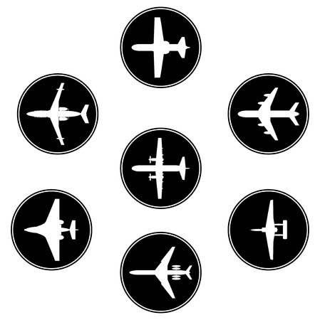 Vector collection different airplane silhouettes Stock Vector - 14984928