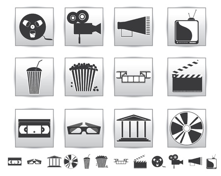 Movie icons  Film and square icon Stock Vector - 15504360