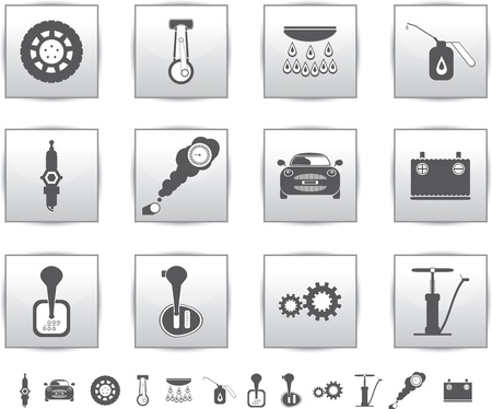 motor car candles: Vector car set icons  auto service square