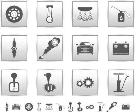 auto service: Vector car set icons  auto service square