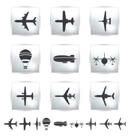 aerostat: collection different airplane silhouettes  Illustration