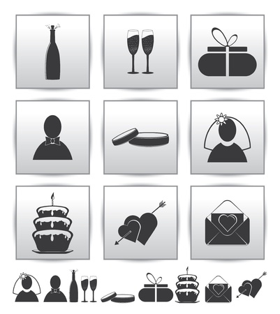 collection web icon  Set wedding gift Vector