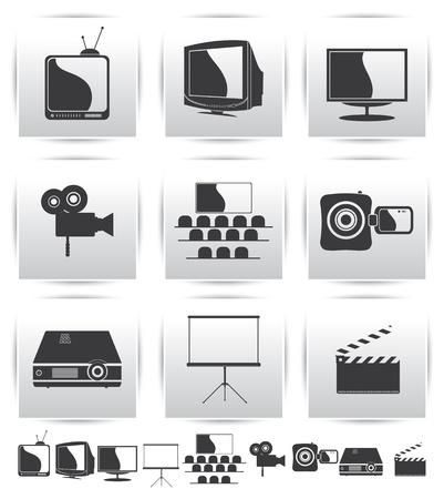 Movie icons  Film and square gray Illusztráció