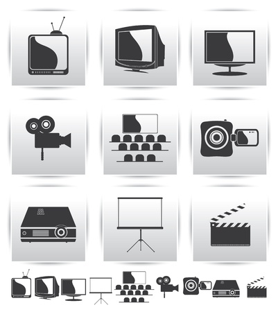videotape:  Movie icons  Film and square gray Illustration