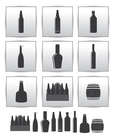 alcoholic drinks icon  square gray set  photo