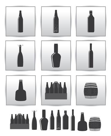 non alcoholic: alcoholic drinks icon  square gray set