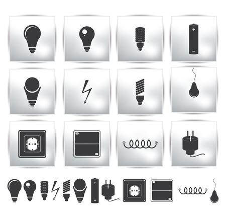 enchufe de luz: electricidad set y botón de encendido energía Vectores