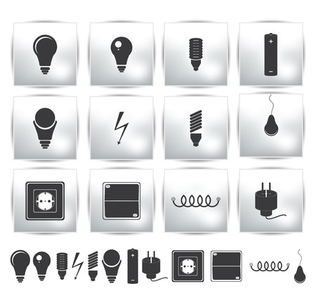 lamplight: electricity set and energy button  power Illustration