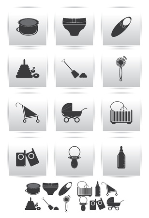 icons set   baby toys Vector