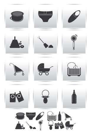 furnishing: icons set   baby toys Illustration