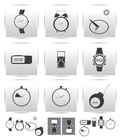 reloj de sol: iconos Ajuste de hora y reloj Vectores