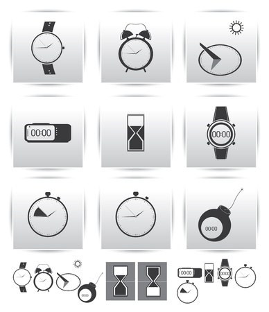 set icons  Time and clock  Vector