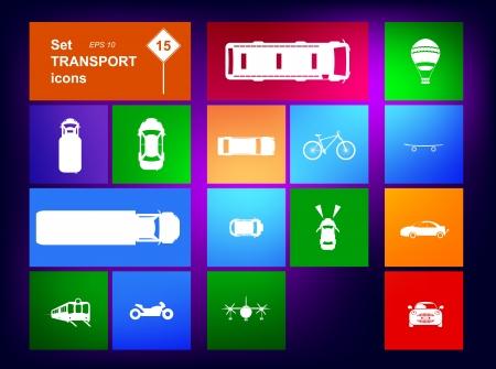 motorizado: Conjunto de iconos de transporte navegante Vectores
