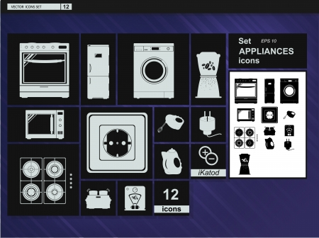 cooktop: collection icons  Appliances Kitchenware Stock Photo
