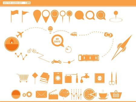 modes: set icons modes of transport  navigation