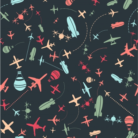 Vector seamless pattern  Airplanes sky set  Stock Photo - 16261656